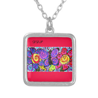 Butterfly flowers fun silver plated necklace
