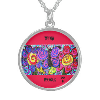 Butterfly flowers fun sterling silver necklace