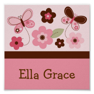 Butterfly Flowers Personalized Name Art Print
