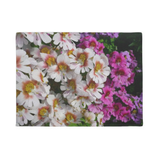 Butterfly Flowers Pink White and Purple Floral Doormat