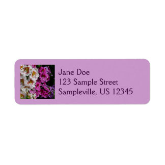 Butterfly Flowers Pink White and Purple Floral Return Address Label