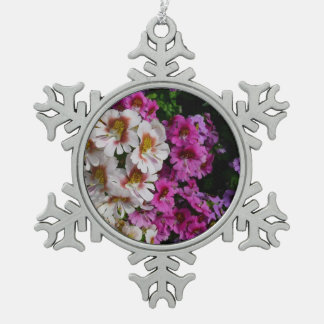 Butterfly Flowers Pink White and Purple Floral Snowflake Pewter Christmas Ornament