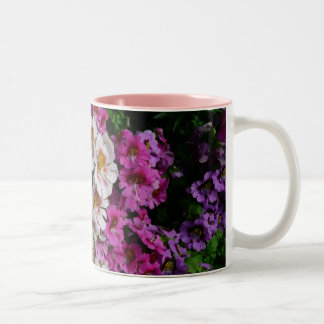 Butterfly Flowers Pink White and Purple Floral Two-Tone Coffee Mug
