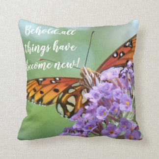 Butterfly Flowers Scripture Bible Throw Pillow