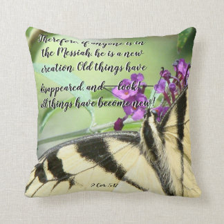 Butterfly Flowers Scripture Throw Pillow