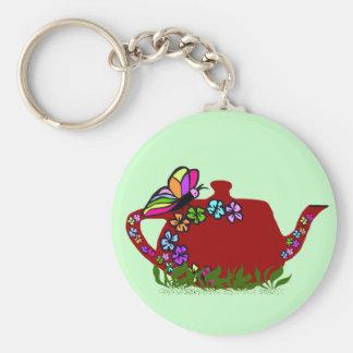 Butterfly flowers tea pot  key chain