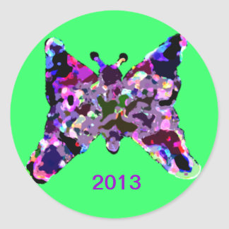 Butterfly For Good Luck For New Year Round Sticker