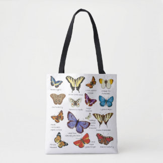 Butterfly Full Color Illustrations popular types Tote Bag