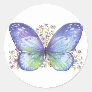 Butterfly Garden Round Stickers
