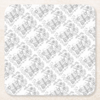 Butterfly Garden Two Line Art Design Square Paper Coaster