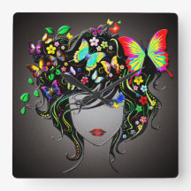 Butterfly Girl 1&1A Clock Options