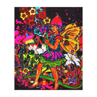 Butterfly Girl Floral and Pink Grunge Collage Stretched Canvas Print
