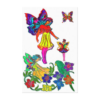Butterfly Girl Floral Butterflies & Bird Stretched Canvas Print