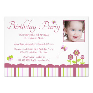 Butterfly girl s photo birthday party invitation