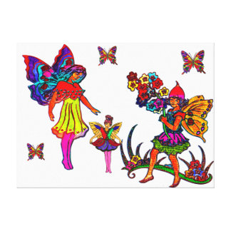Butterfly Girls Floral Butterflies Canvas Print