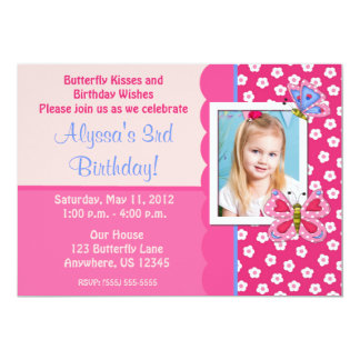 Butterfly Girls Photo Birthday Invitation