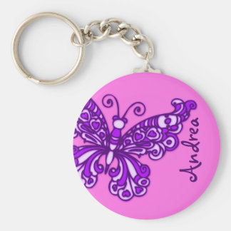 Butterfly girls pink and purple name keychain