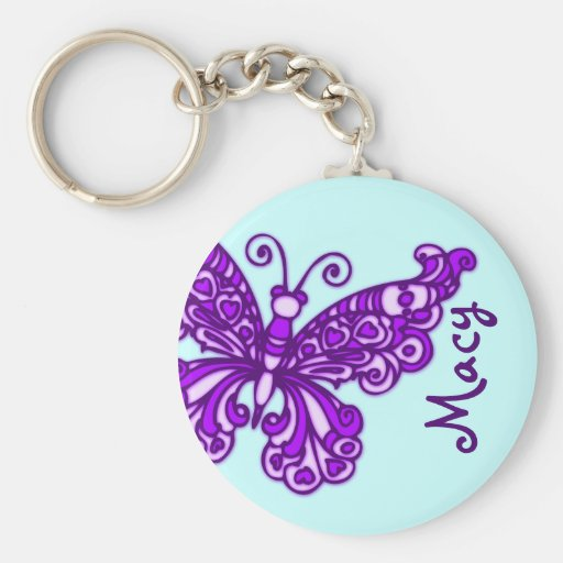 Butterfly girls purple blue sky name keychain