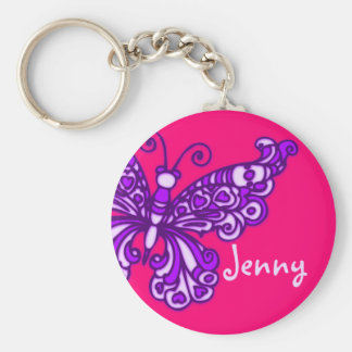 Butterfly girls purple pink name keychain