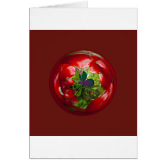 Butterfly Globe with red berries. Card