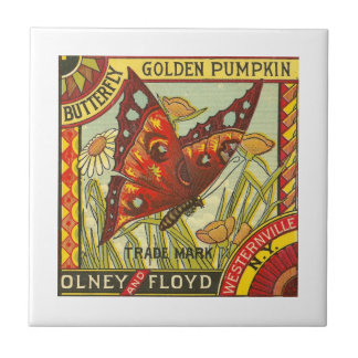Butterfly Golden Pumpkin Small Square Tile