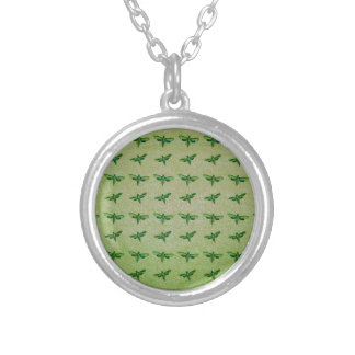 Butterfly green+blue silver plated necklace