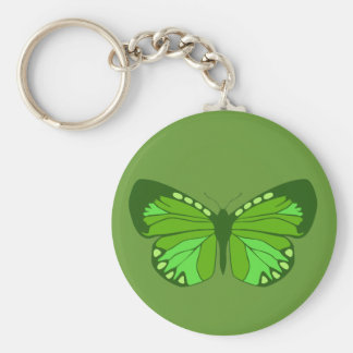 Butterfly Greens Basic Round Button Key Ring