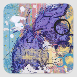 Butterfly Grunge Square Sticker
