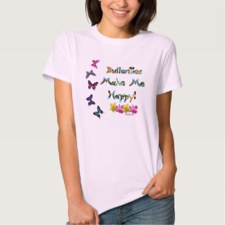 Butterfly Happy Ladies Babydoll T-Shirt