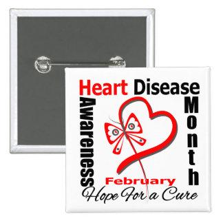 Butterfly Heart - Heart Disease Awareness Month Pinback Buttons