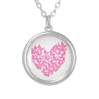 Butterfly heart pink love watercolor necklace
