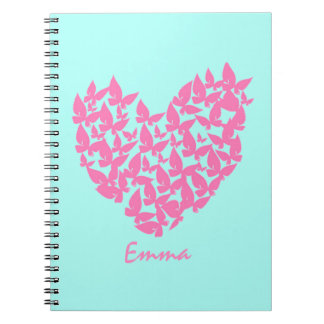 Butterfly heart pink love watercolor note book