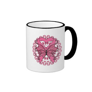 Butterfly Heart Ribbon - Breast Cancer Ringer Mug
