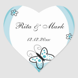 Butterfly Heart Wedding Favor Sticker::Blue Heart Sticker