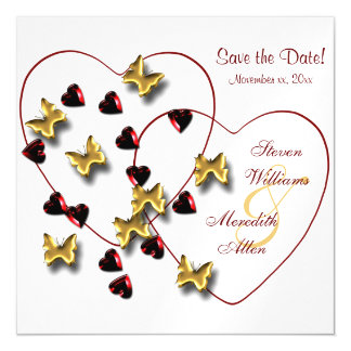 Butterfly Hearts Bling Save the Date Magnetic Card