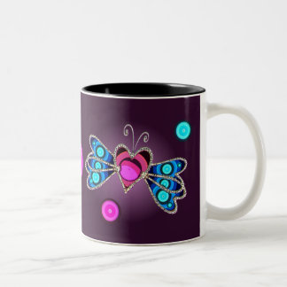 BUTTERFLY HEARTS by SHARON SHARPE Two-Tone Coffee Mug