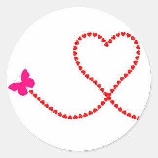 butterfly hearts round sticker
