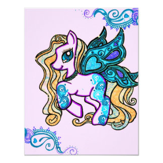 butterfly Henna Pony inv 11 Cm X 14 Cm Invitation Card