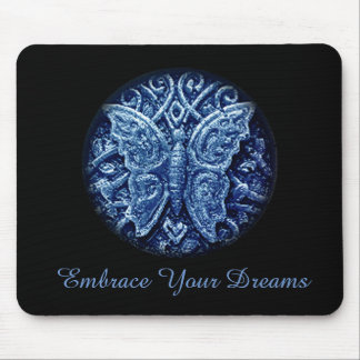 Butterfly icon with embrace your dreams text mouse pad