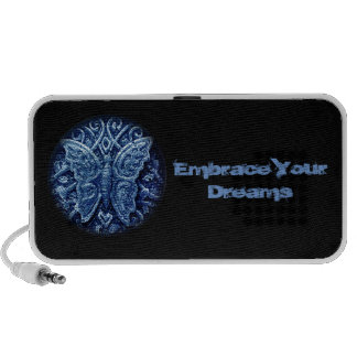Butterfly icon with embrace your dreams text speakers