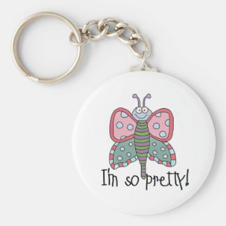 Butterfly I'm So Pretty Basic Round Button Key Ring
