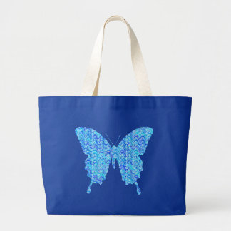 Butterfly image, abstract pattern, shades of blue large tote bag