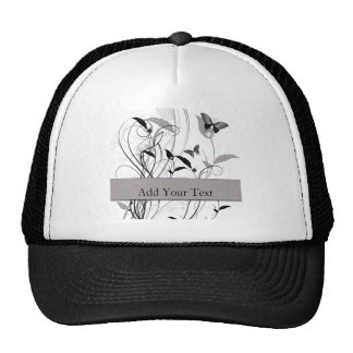 Butterfly in Black and Grey Cap