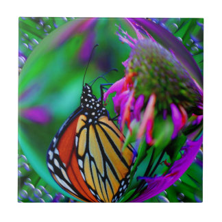 Butterfly In Bubble Nature Abstract Art Tile