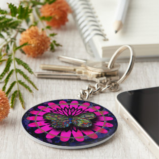 Butterfly in dish key ring