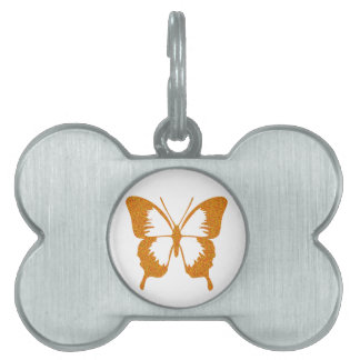 Butterfly in Gold Metallic Pet Name Tag
