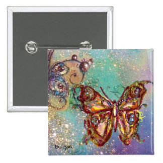 BUTTERFLY IN GOLD SPARKLES 15 CM SQUARE BADGE
