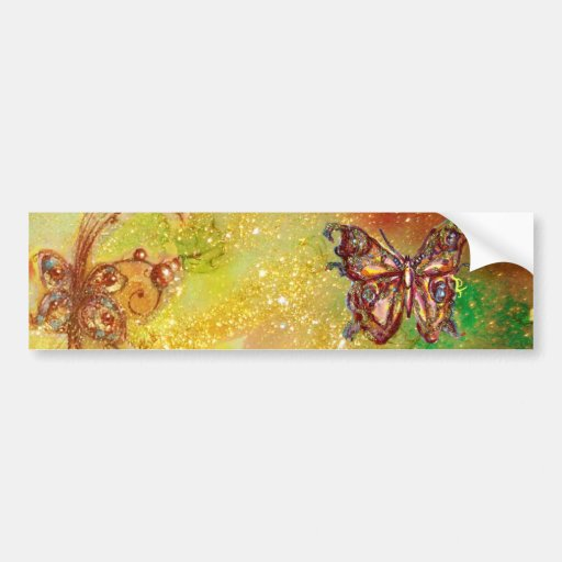 BUTTERFLY IN GOLD SPARKLES BUMPER STICKERS