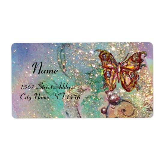 BUTTERFLY IN SPARKLES , blue green Shipping Label