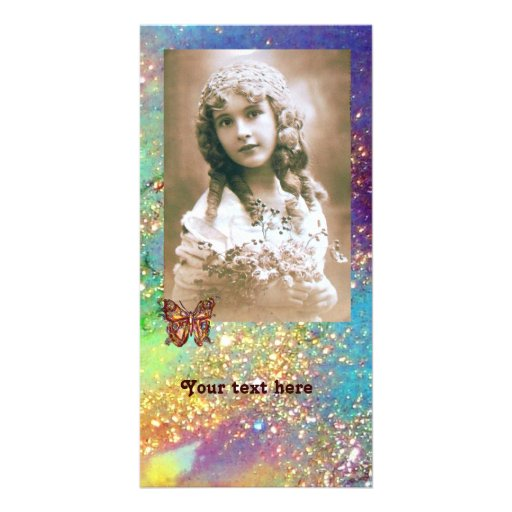 BUTTERFLY IN SPARKLES bright purple pink blue gold Photo Card Template
